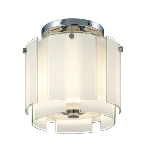 Sonneman Lighting Semi-Flushmount Light with White Glass in Polished Chrome Finish 3187.01