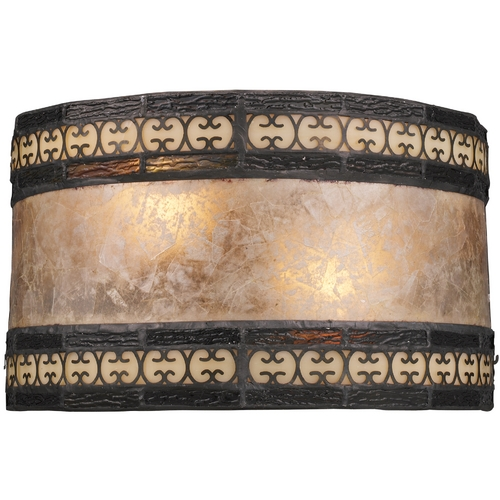 Elk Lighting Sconce Wall Light with Beige / Cream Mica Shade in Tiffany Bronze 70064-2