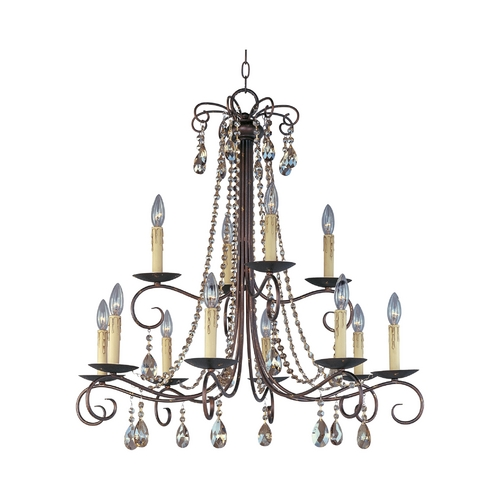 Maxim Lighting Crystal Chandelier in Urban Rustic Finish 22199UR