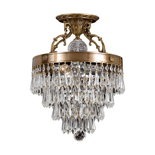Crystorama Lighting Crystal Semi-Flushmount Light in Aged Brass Finish 5273-AG-CL-MWP