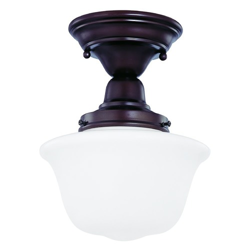 Design Classics Lighting 8-Inch Semi-Flush Ceiling Light with Schoolhouse Glass in Bronze FBS-220 / GD8