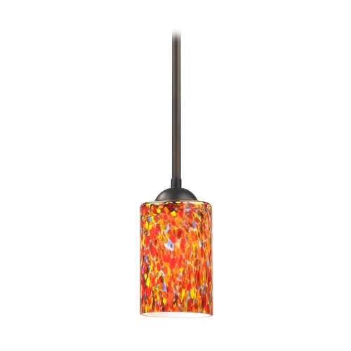 Design Classics Lighting Bronze Mini-Pendant Light with Multi-Colored Art Glass 581-220 GL1012C