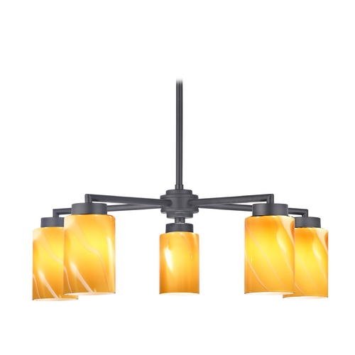 Design Classics Lighting Modern Chandelier with Five Lights and Butterscotch Art Glass in Black Finish 590-07 GL1022C