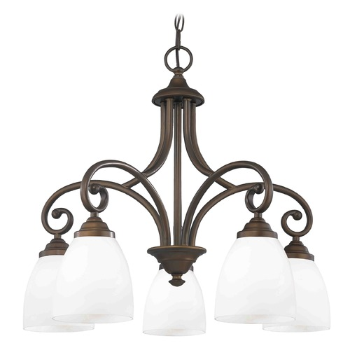 Design Classics Lighting Chandelier with White Glass in Neuvelle Bronze Finish 717-220 GL1024MB