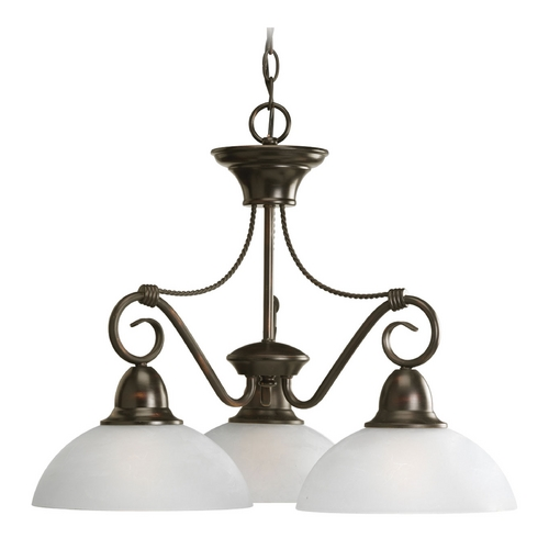 Progress Lighting Progress Chandelier with White Glass in Antique Bronze Finish P4579-20