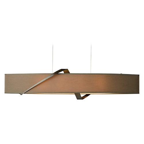 Hubbardton Forge Lighting Hubbardton Forge Lighting Stream Bronze Island Light with Oval Shade 137680-05-598