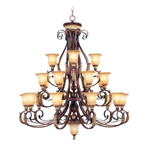 Livex Lighting Livex Lighting Villa Verona Bronze with Aged Gold Leaf Accents Chandeliers with Center Bowl 8569-63