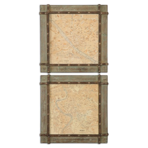 Uttermost Lighting Uttermost Mapa Roma & Firenze Wall Art Set of 2 51097
