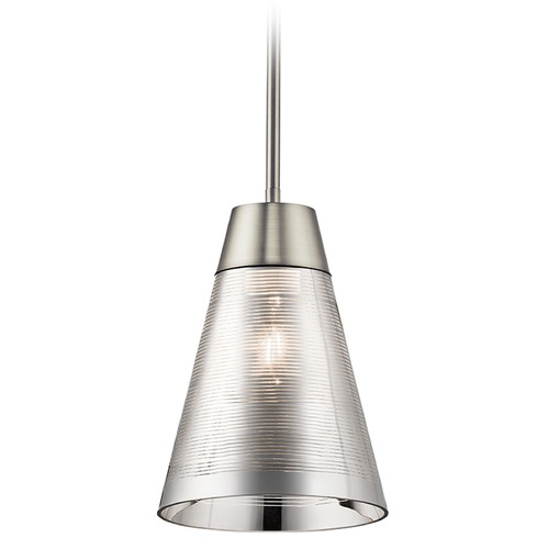 Kichler Lighting Kichler Lighting Rowland Brushed Nickel Mini-Pendant Light with Conical Shade 43792NI