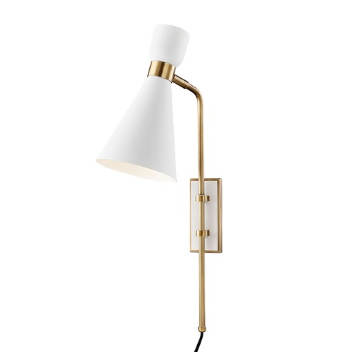 Mitzi by Hudson Valley Mitzi By Hudson Valley Mitzi Willa Aged Brass / Soft Off White Sconce HL295101-AGB/WH