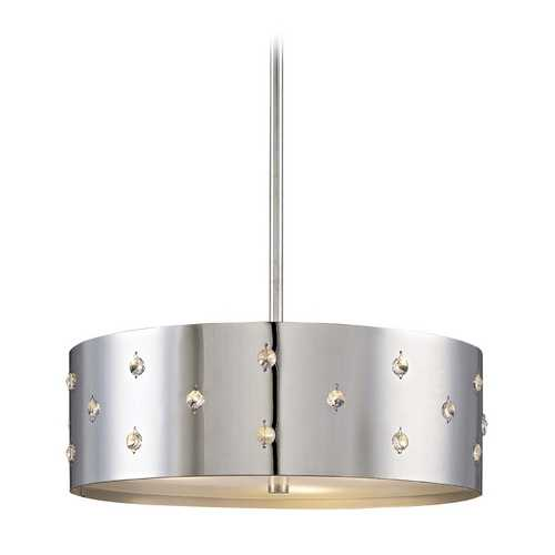 George Kovacs Lighting Modern Drum Pendant Light in Chrome Finish P033-077