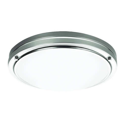 Philips Lighting Modern Flushmount Light with White Glass in Satin Nickel Finish F245136U