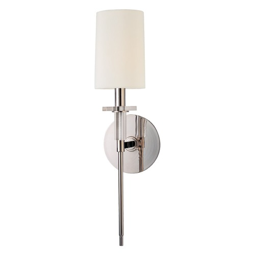 Hudson Valley Lighting Modern Sconce Wall Light with White Shade in Polished Nickel Finish 8511-PN