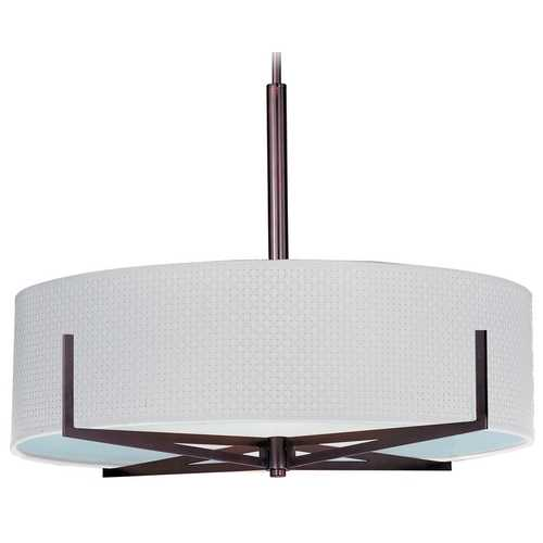 ET2 Lighting Modern Pendant Light with White Shades in Oil Rubbed Bronze Finish E95308-100OI