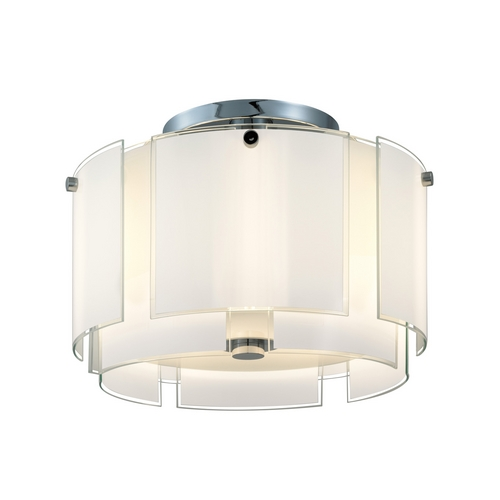 Sonneman Lighting Semi-Flushmount Light with White Glass in Polished Chrome Finish 3188.01