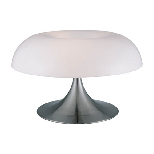 Lite Source Lighting Modern Table Lamp with White in Polished Steel Finish LS-2901PS/WHT