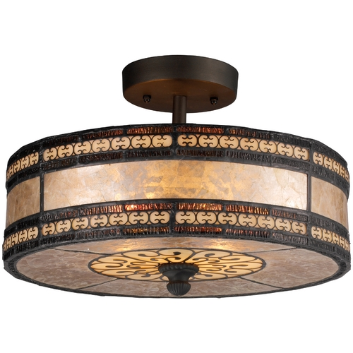 Elk Lighting Semi-Flushmount Light with Beige Glass in Tiffany Bronze Finish 70065-2