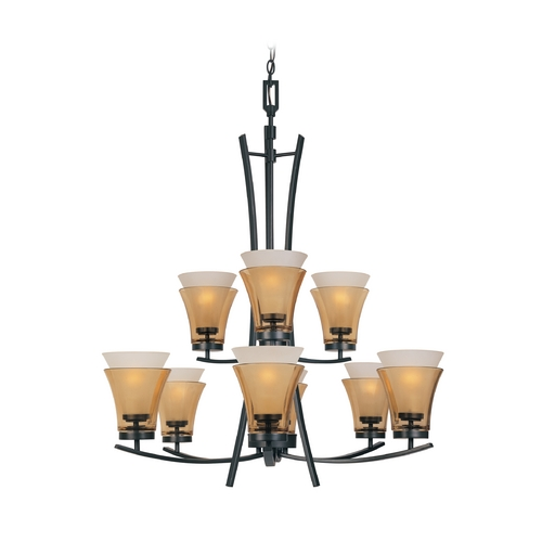 Designers Fountain Lighting Chandelier with Beige / Cream Glass in Oil Rubbed Bronze Finish 83189-ORB