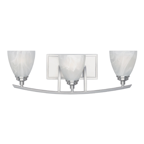 Designers Fountain Lighting Bathroom Light with Alabaster Glass in Satin Platinum Finish 82903-SP