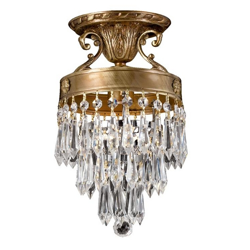 Crystorama Lighting Crystal Semi-Flushmount Light in Aged Brass Finish 5270-AG-CL-MWP