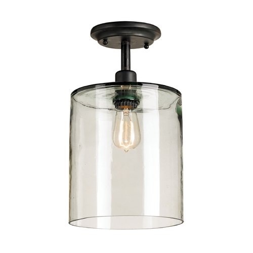 Currey and Company Lighting Vintage Style Ceiling Light with Hand Blown Recycled Glass Shade 9892