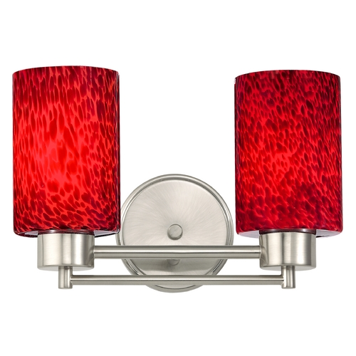 Design Classics Lighting Modern Bathroom Light with Red Glass in Satin Nickel Finish 702-09 GL1018C