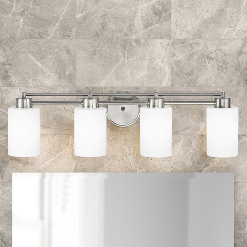Design Classics Lighting Modern Bathroom Light with White Glass in Satin Nickel Finish 704-09 GL1028C