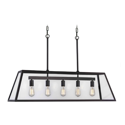 Design Classics Lighting Industrial Linear Chandelier with Tapered Rectangle Glass 5-Light 1169-1-25