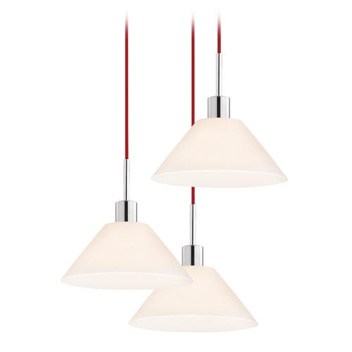 Sonneman Lighting Modern Multi-Light Pendant Light with White Glass and 3-Lights 3563.01R-3