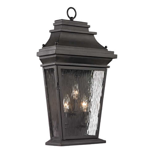 Elk Lighting Outdoor Wall Light with Clear Glass in Charcoal Finish 47053/3