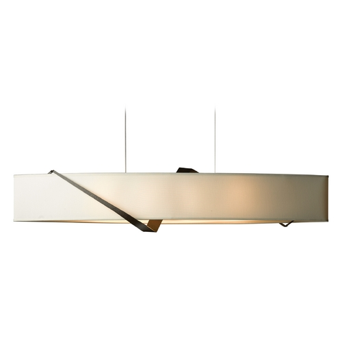 Hubbardton Forge Lighting Hubbardton Forge Lighting Stream Bronze Island Light with Oval Shade 137680-05-599