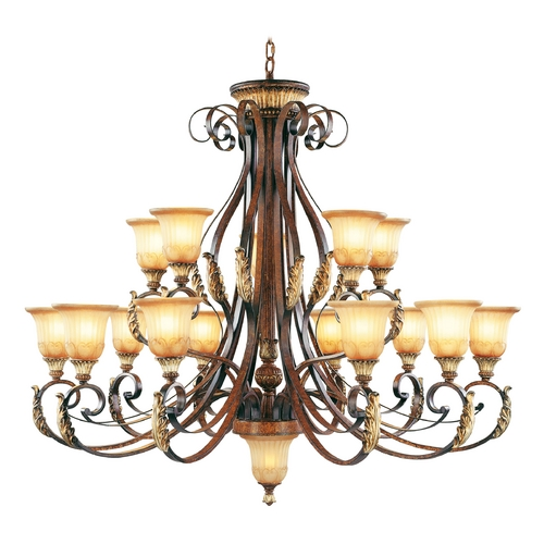 Livex Lighting Livex Lighting Villa Verona Bronze with Aged Gold Leaf Accents Chandeliers with Center Bowl 8568-63