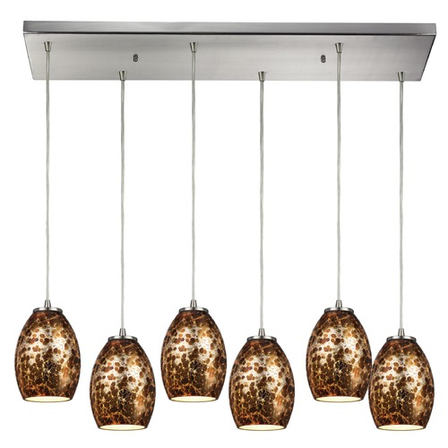 Elk Lighting Elk Lighting Venture Satin Nickel Multi-Light Pendant with Bowl / Dome Shade 10255/6RC