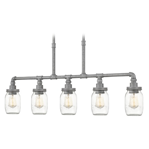 Quoizel Lighting Quoizel Lighting Squire Galvanized Island Light with Cylindrical Shade SQR538GV