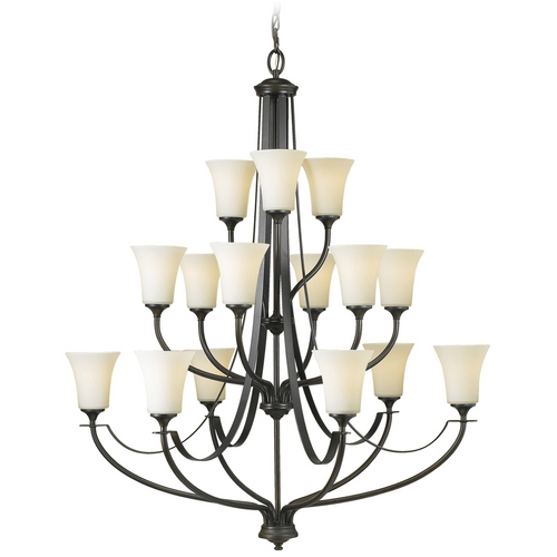 Sea Gull Lighting Modern Chandelier with White Glass in Oil Rubbed Bronze Finish F2254/6+6+3ORB
