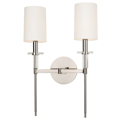 Hudson Valley Lighting Modern Sconce Wall Light with White Shades in Polished Nickel Finish 8512-PN
