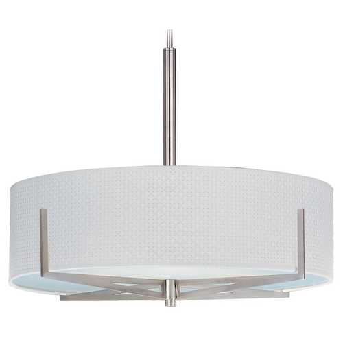 ET2 Lighting Modern Pendant Light with White Shades in Satin Nickel Finish E95308-100SN