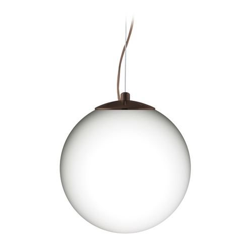 Besa Lighting Modern Pendant Light with White Glass in Bronze Finish 1KX-432907-BR