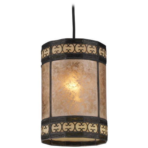 Elk Lighting Mini-Pendant Light with Beige / Cream Mica Shade 70066-1
