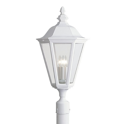 Sea Gull Lighting Post Light with Clear Glass in White Finish 8231-15