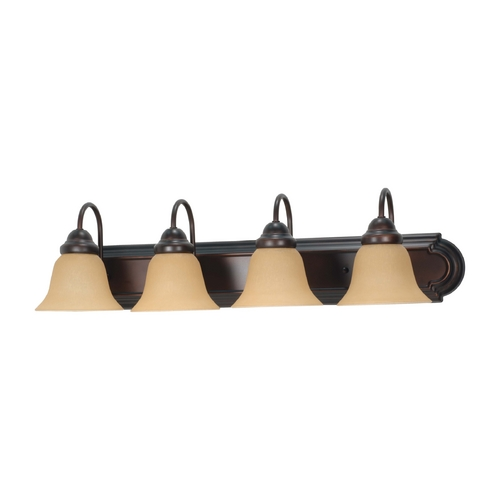 Nuvo Lighting Bathroom Light with Beige / Cream Glass in Mahogany Bronze Finish 60/3123