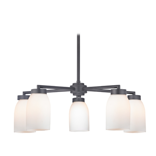 Design Classics Lighting Modern Chandelier with Five Lights and White Glass in Black Finish 590-07 GL1024D