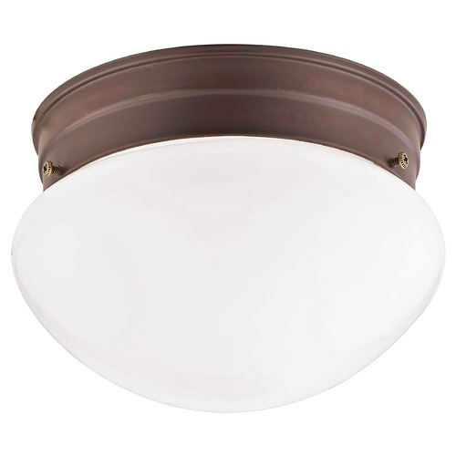 Design Classics Lighting 7.5-Inch Bronze Flushmount Ceiling Light With Opal Glass 29612