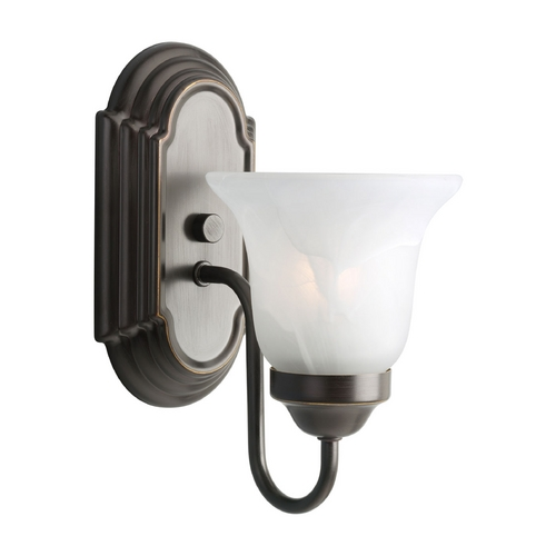 Progress Lighting Progress Sconce Wall Light with Alabaster Glass in Bronze Finish P3051-20