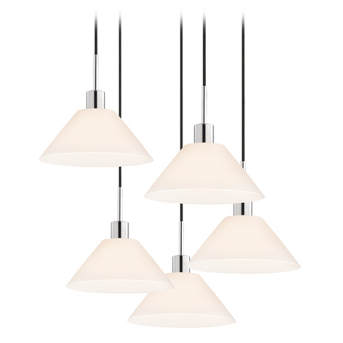 Sonneman Lighting Modern Multi-Light Pendant Light with White Glass and 5-Lights 3563.01K-5