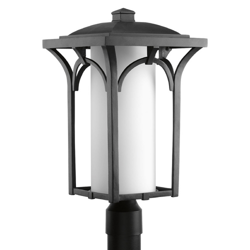 Progress Lighting Post Light with White Glass in Black Finish P6418-31WB