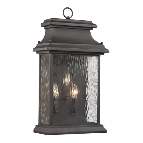 Elk Lighting Outdoor Wall Light with Clear Glass in Charcoal Finish 47054/3