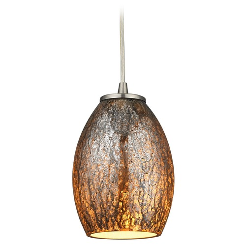 Elk Lighting Elk Lighting Venture Satin Nickel Mini-Pendant Light with Bowl / Dome Shade 10256/1
