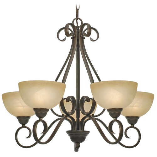 Golden Lighting Golden Lighting Riverton Peppercorn Chandelier 1567-5 PC