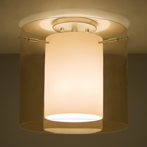 Besa Lighting Besa Lighting Pahu Satin Nickel Semi-Flushmount Light 1KM-G18407-SN